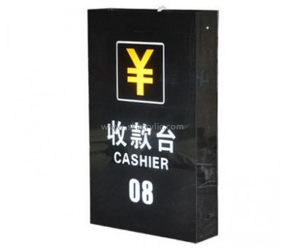 Custom design elegant black acrylic led sign for cashier BS-005