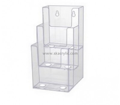 Custom acrylic 4 tier plastic paper brochure holders for walls BH-384