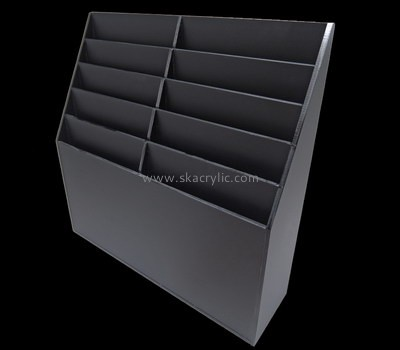 Customize black acrylic tiered brochure holder BH-1342