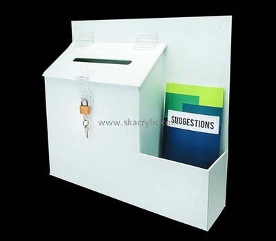 Acrylic wall donation box with brochure holder BH-2083